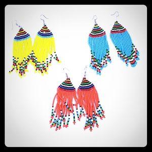 Jewelry - Hand-crafted Maasai Beaded Fringe Earrings